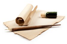antique writing utensils, retro style against white background
